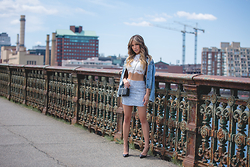 Jessi Malay - Topshop Lace High Neck Crop Top, Topshop Boucle Mini Skirt, Topshop Petite Moto Denim Jacket, Topshop Black Capretto Pumps - JMeastcoasttour | Boston