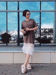 Katu Mikheicheva - Vintage Dress From Bangkok, Misha4sure Fashion Eyewear - Coffee&milk