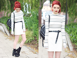 Hannah Louise - River Island Striped Top, River Island White Faux Leather Skirt, River Island Chunky Heels - White Leather Skirt