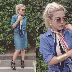 Kash Zabala - Gap Denim Blouse, Levi's Denim Skirt, Zara Black & Blue Heels, H&M Pearl Loop Earrings, Aldo Round Sunglasses - Denim On Denim