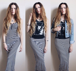 Lauren Schoonover - Striped Maxi Dress, Nirvana Tee, Denim Jacket - Outfit 249