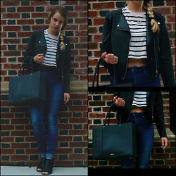 Amelia Burns - H&M Sun Necklace, Forever 21 Stripes, H&M Leather Jacket, H&M High Waisted Jeans, Rebecca Minkoff Bag, Steve Madden Sandle Heels - Easy Going Grunge