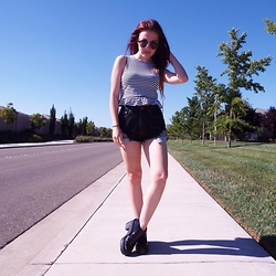 Maria S. - Heavenly Couture High Waisted Shorts, H&M Cropped Top - Hazy Days..