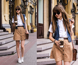 Nastia Poberezhna - Pull & Bear Sunglasses, Cambridge Satchel Bag, Converse White Sneakers - Coffee Lover