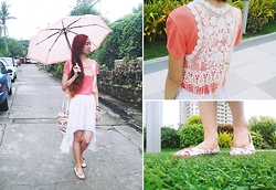 Rae Abigael Caacbay - Sammy Dress White Lace Vest, Zalora Ph Floral Ballet Flats, Diy White Mullet Skirt - Swirls of pink and blue sugar clouds