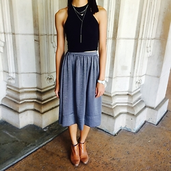 Kacie H. - Urban Outfitters Layered Necklace, Truly Madly Deeply Fitted Cropped Tank Top, Kimchi Blue Silky Midi Skirt, Sam Edelman Leather Petty Boots - Balboa Park