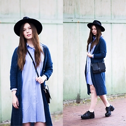 Laura - Gina Tricot Dress, Monki Cardigan, Monki Bag, H&M Hat, Vagabond Shoes - Blue Dress