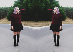 Bella Rodriguez - Oasap Sweater, Diy Skater Skirt, Dresslink Knee High Boots - Welcome to the purple hair.