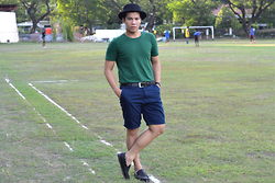 Sef Tiburcio - Forever 21 Bowler's Hat, Giordano Tee, Casio Watch, Beverly Hills Co. Belt, Giordano Walking Shorts, Zalora Casual Boat Shoes - Nail-biting.