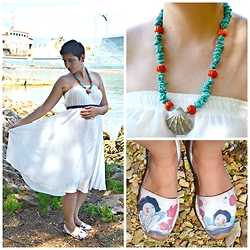 Miss Dee STyle - Ria Menorca, Spain Leather Printed Sandals, Salt, Croatia Turquoise And Coral Necklace, E Bay White Chiffon Dress - Mermaid's Song