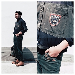 Valeri Novalianto - Tommy Hilfiger Color Blocking Shirt, Roccobarocco Green Embroidered Jeans, Giordano Classic Bag, Timberland Boots - Saved by the Bell