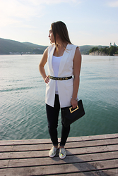 Mary Ryabich - Calliope Vest, Zara Top, H&M Belt, Odel Jeans, Michael Kors Clutch, Asos Slip On - B&W Mood