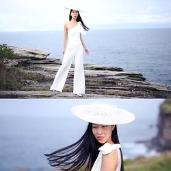 Cissy Zhang - Cue White Jumpsuit, Studio Aniss White Hat - A day of white
