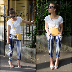 Evelyne Wyss - Zara Striped Pants, Radley Round Bag - Y o l k