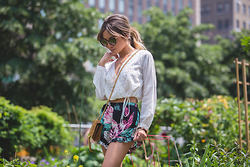 Jessi Malay - Topshop Embroidered Surplice Top, Topshop Floral Print Shorts, Dita Eyewear Heartbreaker Frames, Era Jewelry Rings And Stud Earrings, Saint Laurent Small Monogramme Crossbody - #JMeastcoasttour | NYC