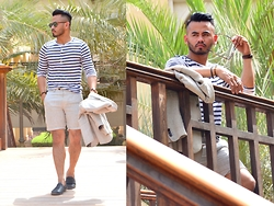 Paul Ramos - H&M Nautical Strip Shirt, H&M Linen Suit, Clarks Penny Loafers, Aldo Wayfarer - TRADERS WEEKENDER