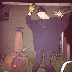 Garrett Cervetto - Sparkle And Fade Sweater, James Perse Leggings, Love Bullet Necklace, Unif Beanie - Duces, I'm Out