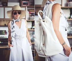 Olga Choi - Choies Culottes Jumpsuit, Deux Lux Backpack, Ray Ban Aviator Sunglasses, Flash Tattoos - White and gold