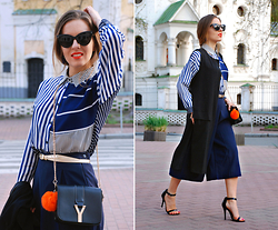 Iren P. - Oasap Navy Blue Culottes, Oasap Blue Patchwork Blouse, Oasap Black Longline Vest, Steve Madden Simple Ankle Strap Sandals, Saint Laurent Crossbody Chain Y Lookalike Bag, Orange Faux Fur Pom Pom Keyring, Cat Eye Sunglasses - Styling Oasap Culottes