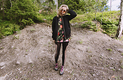Catarina S. - Mq Bomber Jacket, Topman T Shirt, H&M Tights, Nelly.Com Wedges, Topshop Shades, H&M Tube Skirt - ► Dance - The Hunting Elephants