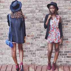 Viona Wambui - Thrifted Fedora Hat, H&M Blazer, Callitspring Heels, Ardene Bag, Thrifted Romper - Flowers and Fedoras