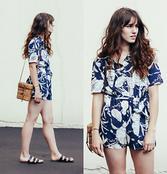 Tonya S. - Kimchi Blue Collared Romper, Urban Outfitters Lucia Strap Sandals - Local Tourist