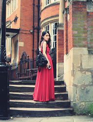 Jasmine L - Red Maxi Dress, Faux Leather Backpack - BRICKS AND MORTAR
