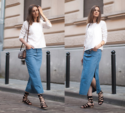 Nika H -  - Denim skirt & gladiators