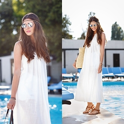 Larisa Costea - Shein Bag, Shein Dress, Boohoo Sunglasses, K Jaques Sandals - By the pool