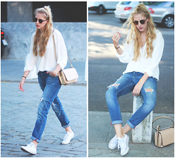 Marta M - Highqualitybuy Shirt, Mango Jeans, Converse Sneakers - Basic with jeans