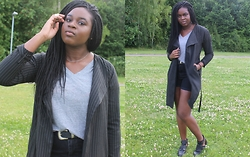 Adeola A. - Forever 21 Tee, Boohoo Trench Coat, Linzi Cut Out Boots, Asos Shorts, Asos Belt - Hey Now