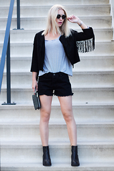 Anita VDH - The Sting Fringe Faux Suede Jacket, Subdued Black Shorts, Invito Chelsea Boots, The Sting Striped T Shirt - Let's Fringe It