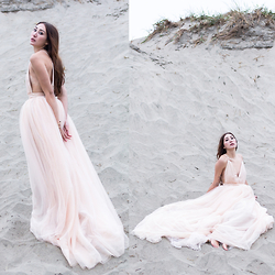 Alyssa Casares - Alyssa Nicole Blush Tulle Gown, Starfish Cuff - Against The Tide