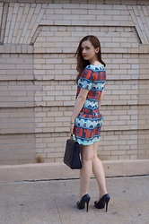 Alina B. - Paul & Joe Sister Printed Dress, Pour La Victoire Black Leather Satchel, Aldo Black Leather Pumps - First day of Summer