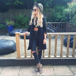 Amy Hallimond - Newlook Jacket, Topshop Jeans, Cosmicchick Crochet Crop Top, Topshop Boots, Accessorize Hat - All Black EVERYTHAAANG