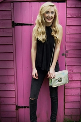 Isobel Thomas - Spooky Eyes Cat Eye Contacts, Topshop Halter Neck, New Look Clutch, Primark Diy Ripped Skinny Jeans - Spooky Eyes