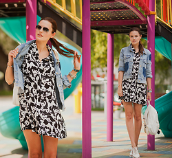 Viktoriya Sener - Zaful Dress, Zaful Jacket, Tomtop Backpack, Stradivarius Brogues - PANDA AT PLAYGROUND