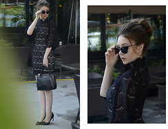 Helena Ivanova - Style Moi Http://Www.Stylemoi.Nu/High Neck Lace Dress With Bell Sleeves.Html, Zerouv Http://Www.Shopzerouv.Com/Collections/New Arrivals/Products/Elegant Laser Cut Womens Modern Cat Eye Fashion Sunglasses 9464, Karen Millen Bag, Saint Laurent Shoes - Green Court Yard
