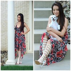 Kimberly Kong - Almost Famous Dress, Amiclubwear Sandals - Almost Famous