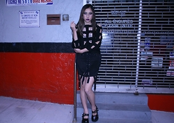 Meilun Yan - One Teaspoon Silver Bralette, Dolls Kill Cut Out Pullover, Unif Skirt, Demonia Mary Janes Platforms - LOVE IS DEATH