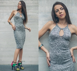 Blertina Shabani - Love Tree Happens Gray Dress, Alexis Bittar Snake Bracelet, H&M Multi Color - State of Gray!