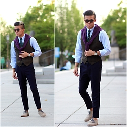 Ryan Fisico - Ray Ban Sunglasses, Arnold Steiner Tie, Mvmt Watches Watch, Gap Cardigan, Gap Shirt, Ben Sherman Shoes - Ivy League - Color Blocking