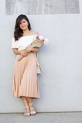Olivia Yuen - Asos Top, Zara Skirt, Topshop Shoes, Zara Bag, Jewelmint Earrings, Topshop Bracelet, Baublebar Bracelet - Poised Peonies