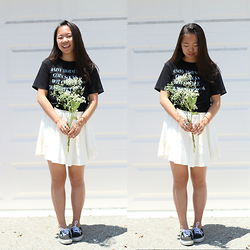 Shirley M - Qtee Black Graphic Tee, Forever 21 White Dress, Vans Black Classic - Flower Child