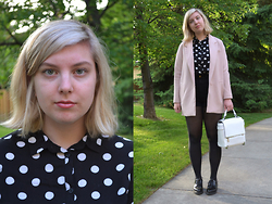 Elizabeth Claire - H&M Pastel Pink Coat, H&M Black And White Polka Dot Shirt, American Apparel Black High Waist Shorts, Zara White Purse, Steve Madden Black Oxfords - Pastel and Polka Dots