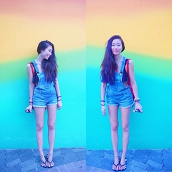 Claudia-Kate AY - Abercrombie Overalls, Victoria's Secret Ruffle Top, Urban Outfitters Knapsac - Love wins