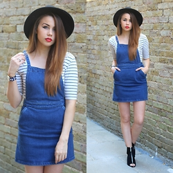 Jessica Sheppard - Asos Fedora, New Look Striped Top, Asos Denim Pinafore, Look Of The Day Suede Zip Up Boots - PINAFORE.