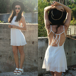 Cristina Z. - Znu White Backless Dress, Sammydress Hat, Trendsgal White Platforms, Trendsgal Cat Ring, Giant Vintage Round Sunglasses - We were born to be real