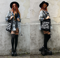 Liza LaBoheme - Fiorellashop Danger Tote Bag, Dresslink Crop Top, Newdress Distressed High Waist Shorts, Brick Lane Market London Oversized Denim Jacket, Demonia Platform Boots - Built from dust and shadows