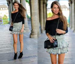 Stephanie Van Klev - Stefanel Off Shoulder Shirt, Isabel Marant Silk Skirt, Isabel Marant Ankle Booties, Chanel Boy Bag - MY SKIRT FLIRT
